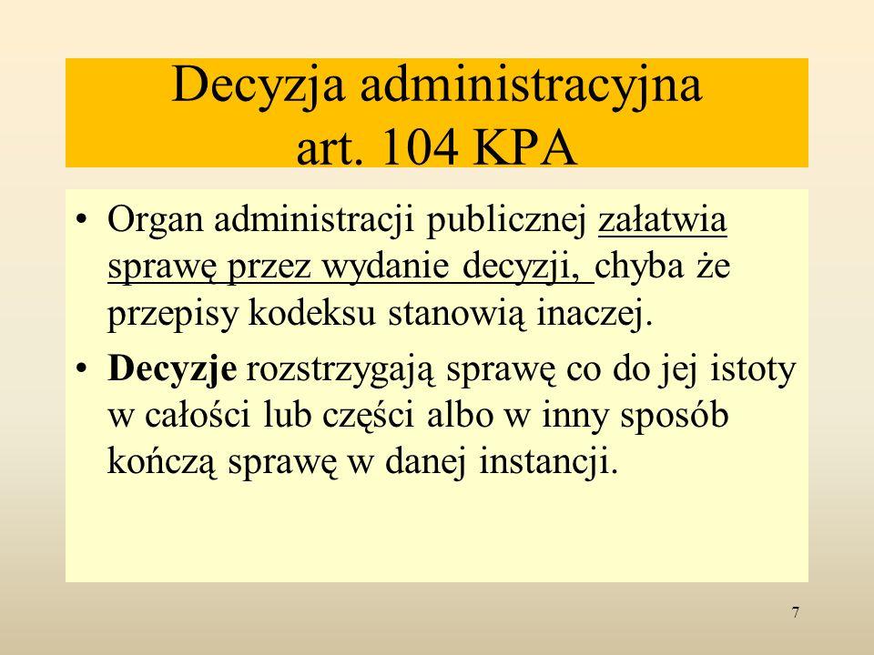 Decyzja administracyjna art. 104 KPA
