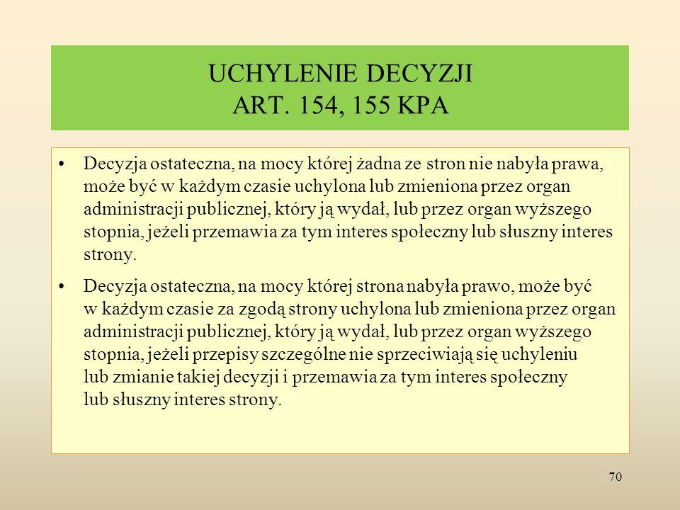 UCHYLENIE DECYZJI ART. 154, 155 KPA