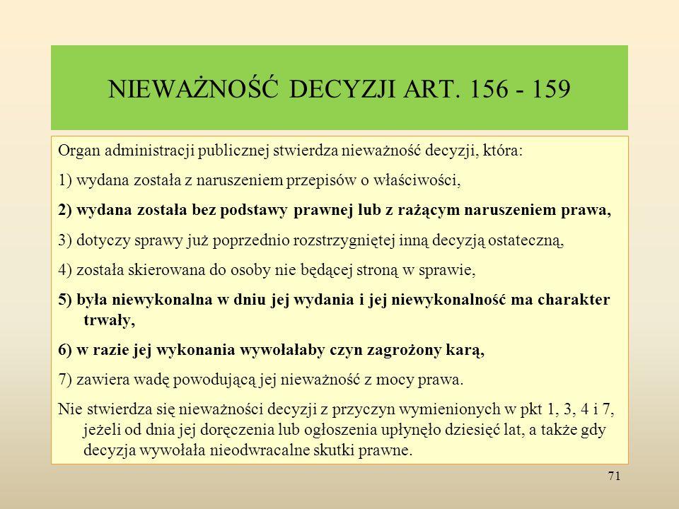 NIEWAŻNOŚĆ DECYZJI ART. 156 - 159