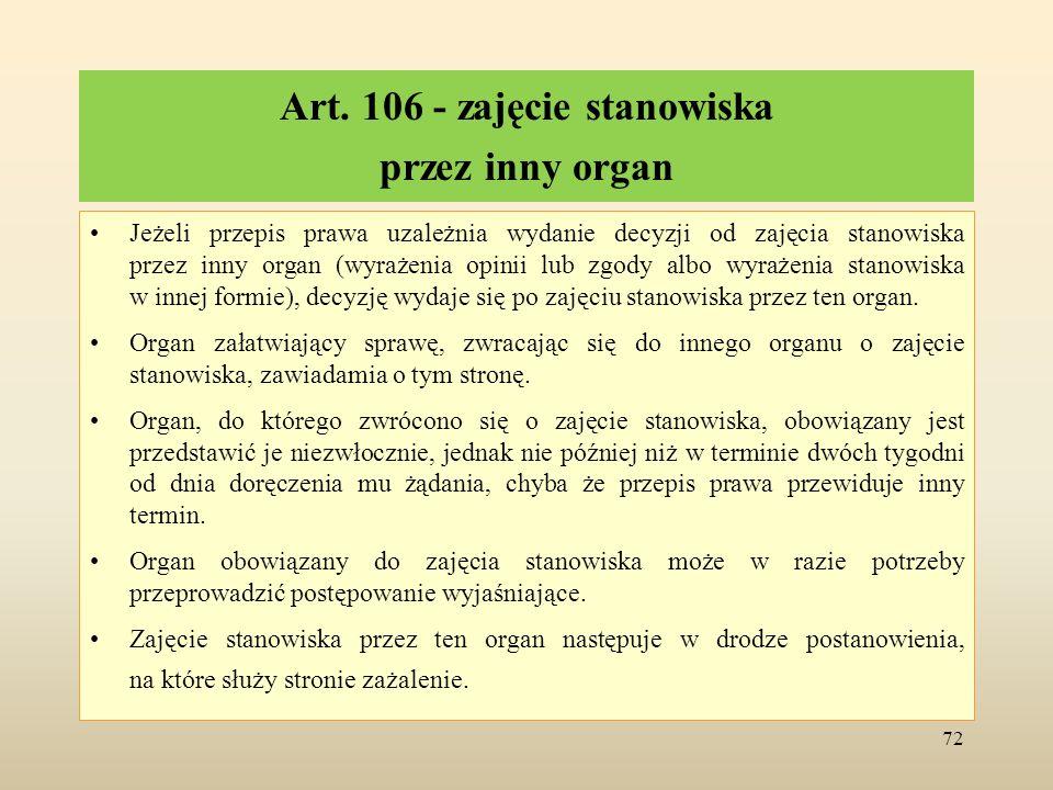 Art. 106 - zajęcie stanowiska przez inny organ