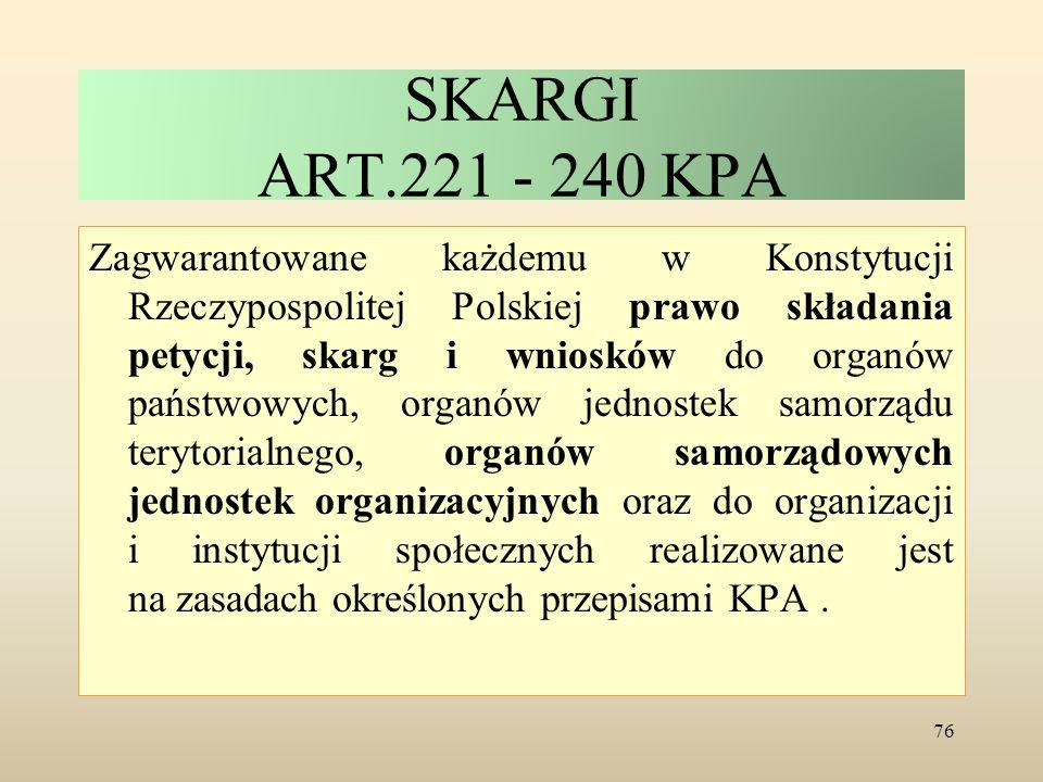 SKARGI ART.221 - 240 KPA