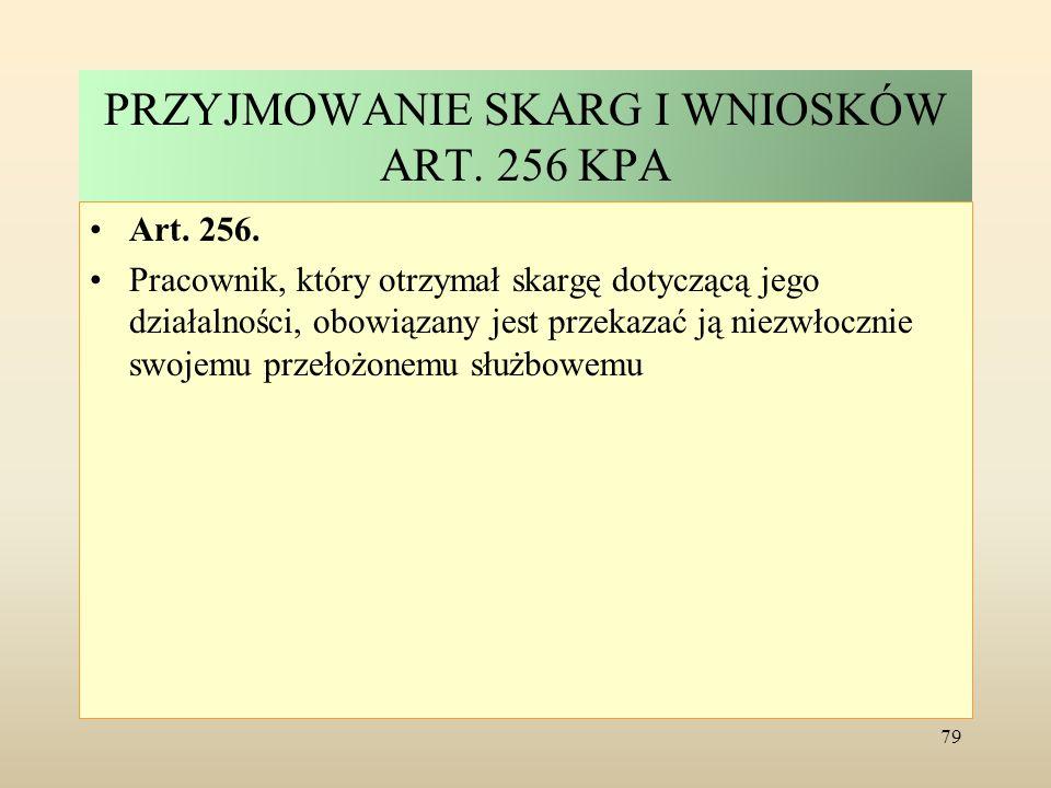 PRZYJMOWANIE SKARG I WNIOSKÓW ART. 256 KPA