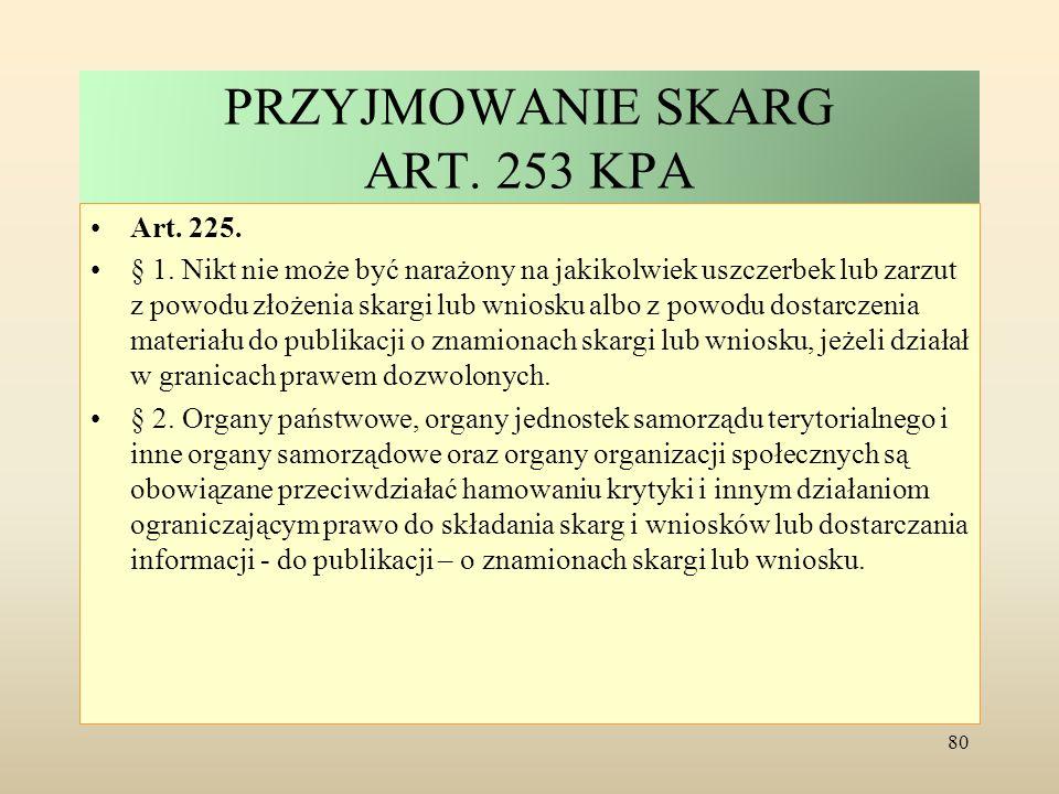 PRZYJMOWANIE SKARG ART. 253 KPA