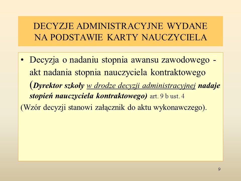 DECYZJE ADMINISTRACYJNE WYDANE NA PODSTAWIE KARTY NAUCZYCIELA
