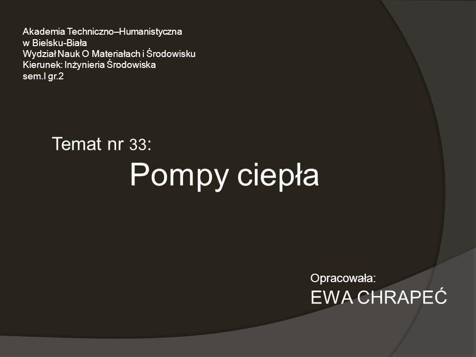 Pompy ciepła Temat nr 33: EWA CHRAPEĆ Opracowała: