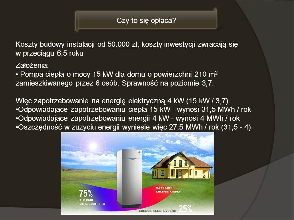 Czy to się opłaca Koszty budowy instalacji od 50.000 zł, koszty inwestycji zwracają się. w przeciągu 6,5 roku.
