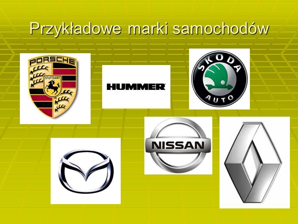 Przykładowe marki samochodów
