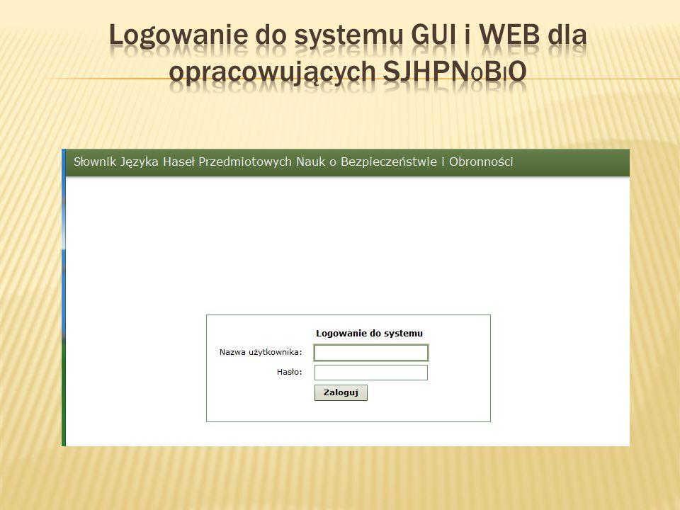 Logowanie do systemu GUI i WEB dla opracowujących SJHPNobiO