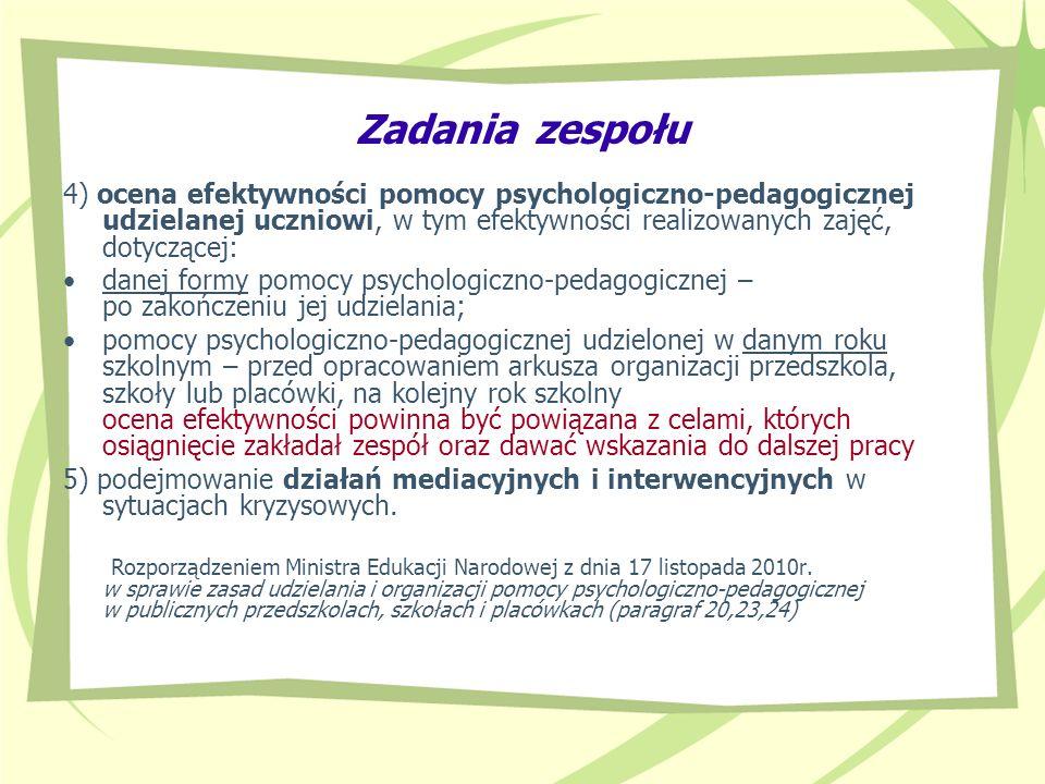 Zadania zespołu 4) ocena efektywności pomocy psychologiczno-pedagogicznej udzielanej uczniowi, w tym efektywności realizowanych zajęć, dotyczącej: