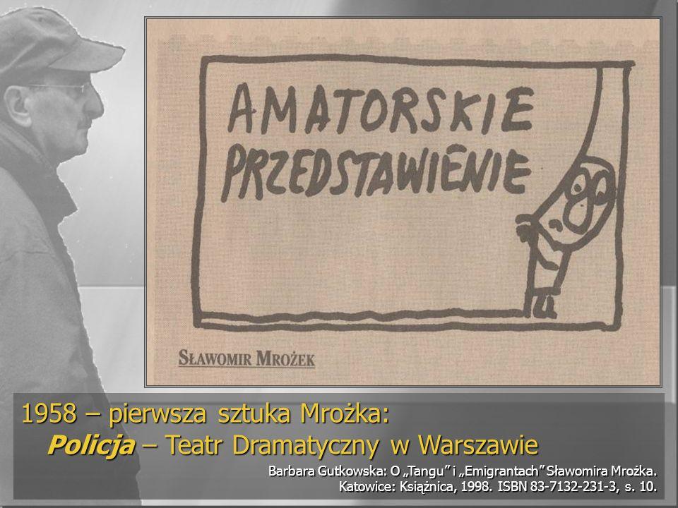 1958 – pierwsza sztuka Mrożka: Policja – Teatr Dramatyczny w Warszawie