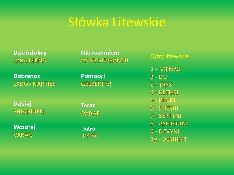 Słówka Litewskie Dzień dobry Laba Diena Dobranoc Labos nakties
