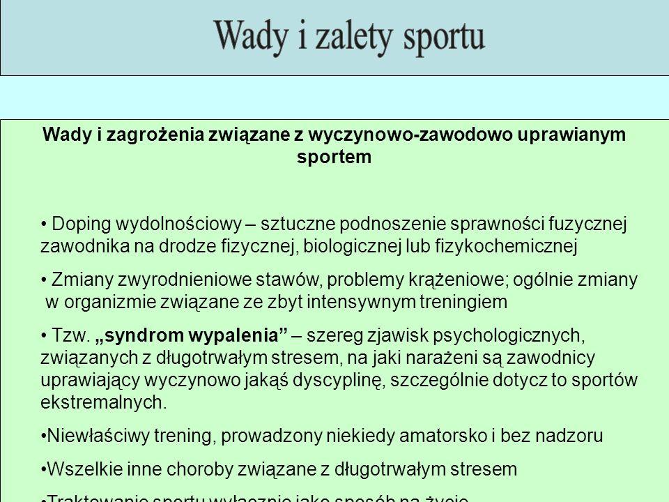 Wady i zagrożenia związane z wyczynowo-zawodowo uprawianym sportem