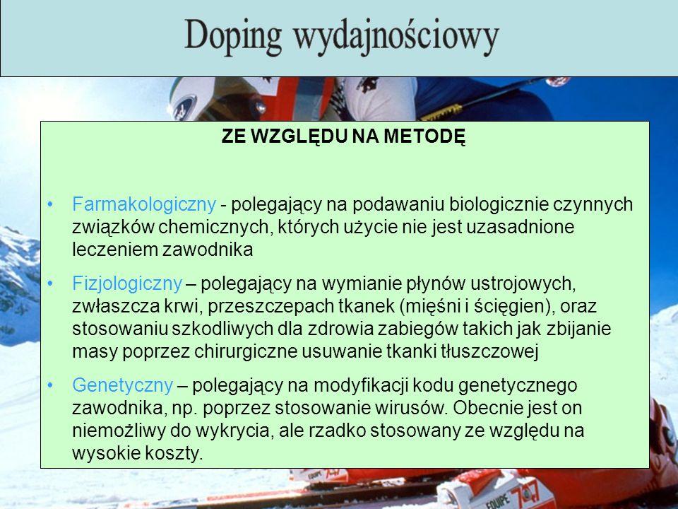 Doping wydajnościowy ZE WZGLĘDU NA METODĘ