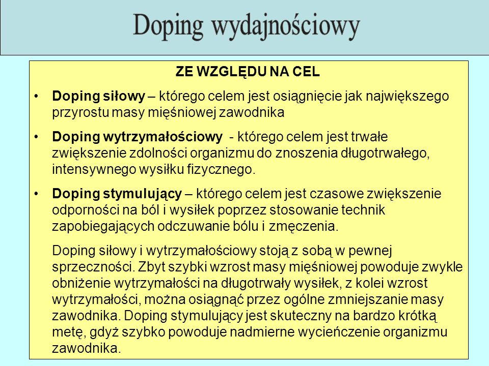 Doping wydajnościowy ZE WZGLĘDU NA CEL