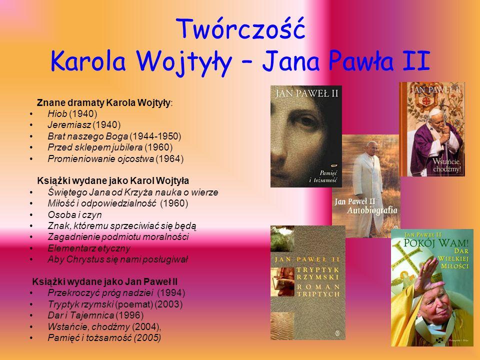 Twórczość Karola Wojtyły – Jana Pawła II