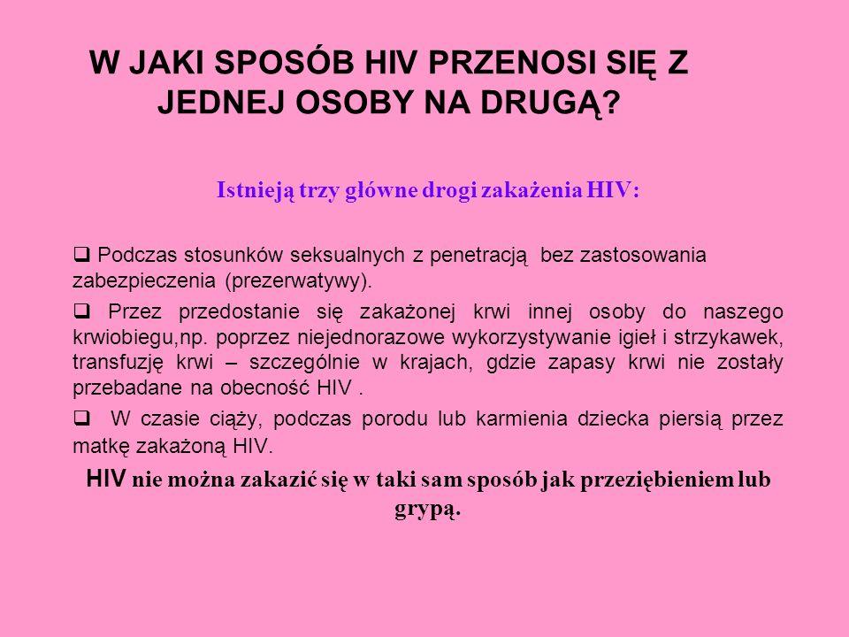 W JAKI SPOSÓB HIV PRZENOSI SIĘ Z JEDNEJ OSOBY NA DRUGĄ