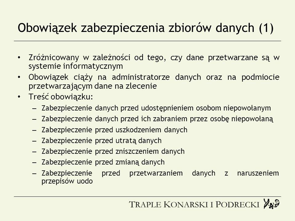 Obowiązek zabezpieczenia zbiorów danych (1)