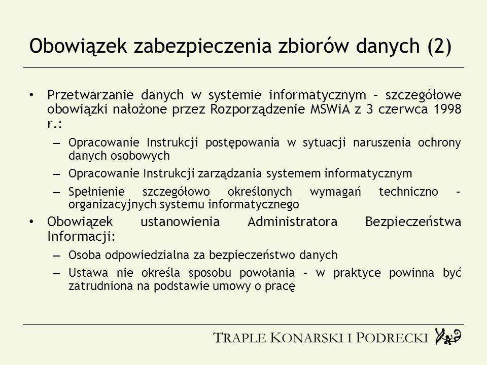 Obowiązek zabezpieczenia zbiorów danych (2)