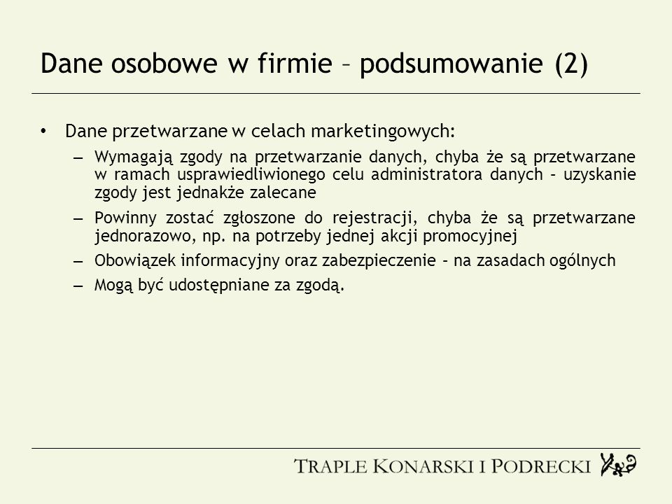 Dane osobowe w firmie – podsumowanie (2)