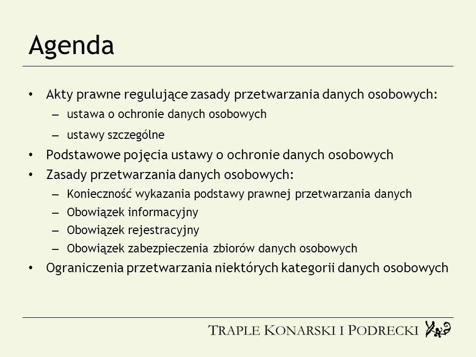Agenda Akty prawne regulujące zasady przetwarzania danych osobowych: