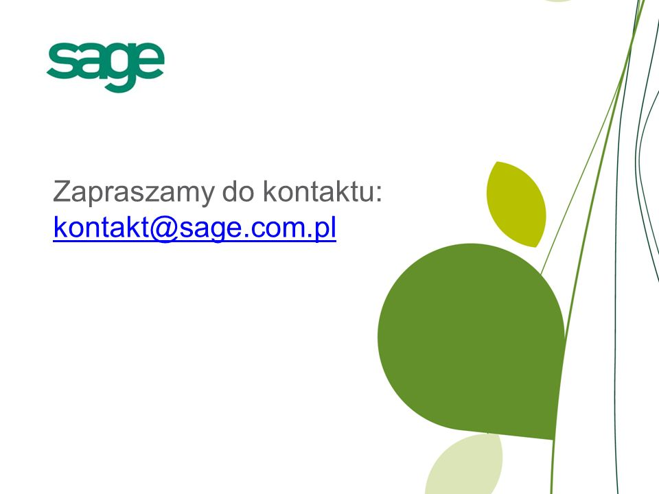 Zapraszamy do kontaktu: kontakt@sage.com.pl