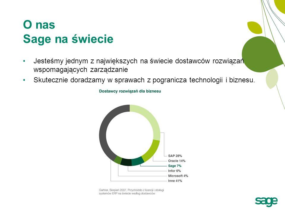 O nas Sage na świecie Jesteśmy jednym z największych na świecie dostawców rozwiązań wspomagających zarządzanie.