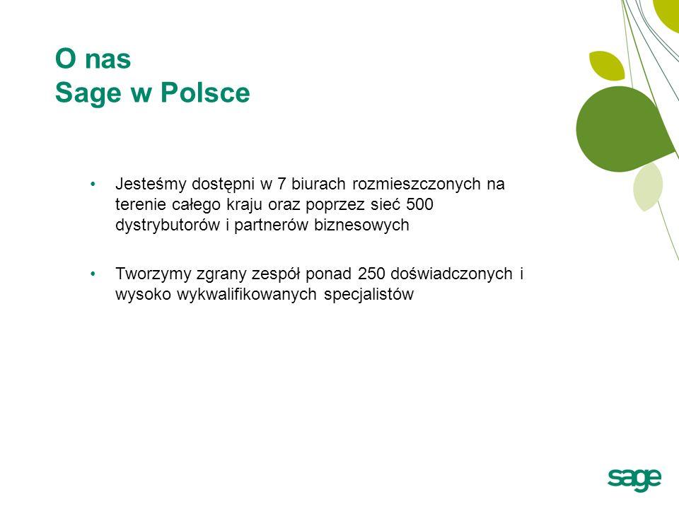 O nas Sage w Polsce Jesteśmy dostępni w 7 biurach rozmieszczonych na terenie całego kraju oraz poprzez sieć 500 dystrybutorów i partnerów biznesowych.