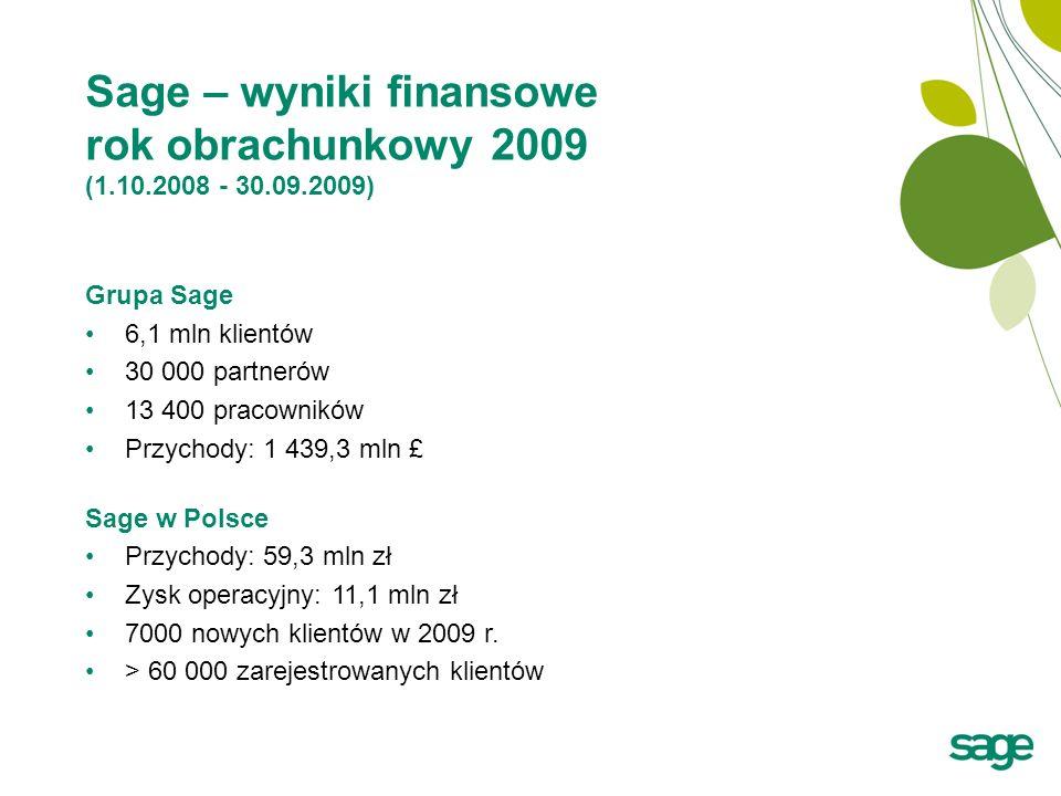 Sage – wyniki finansowe rok obrachunkowy 2009 (1.10.2008 - 30.09.2009)