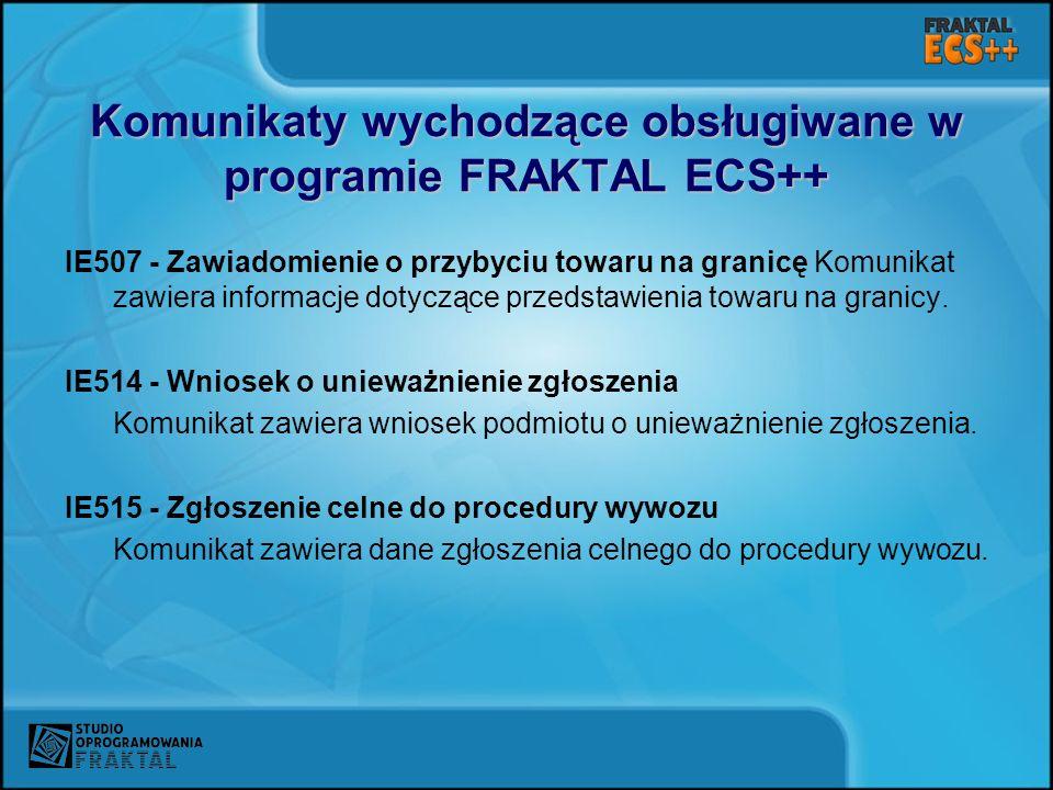 Komunikaty wychodzące obsługiwane w programie FRAKTAL ECS++
