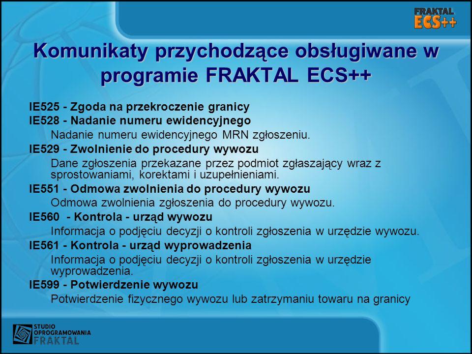 Komunikaty przychodzące obsługiwane w programie FRAKTAL ECS++
