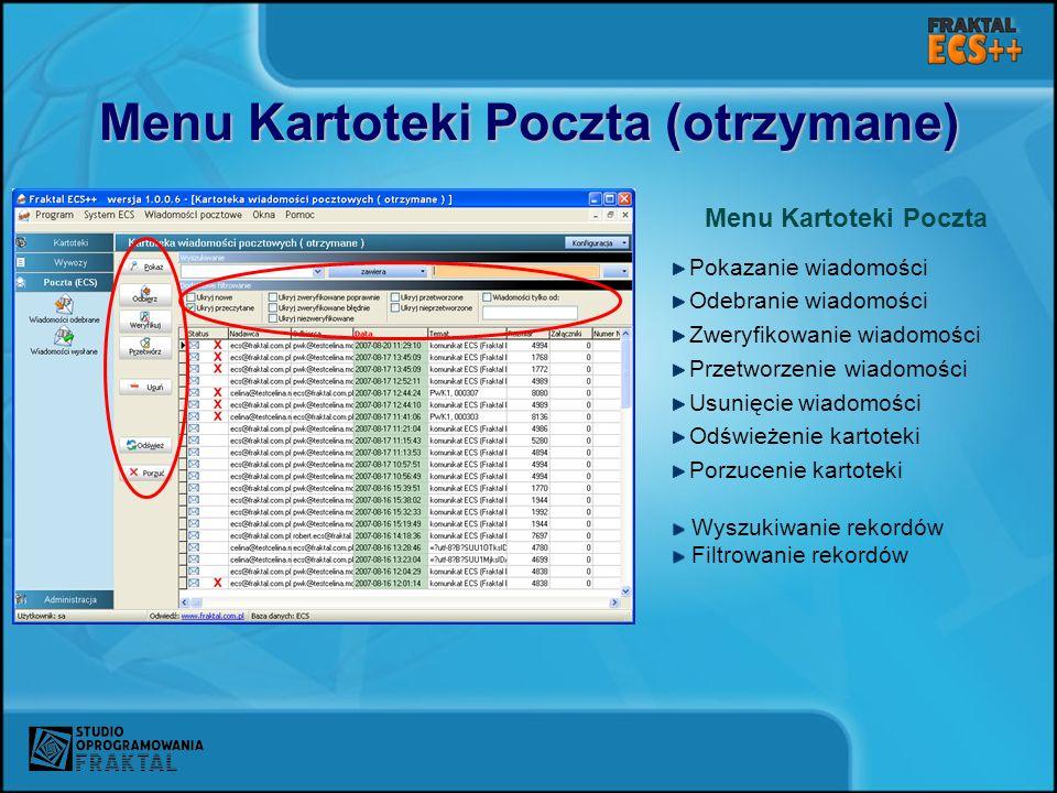 Menu Kartoteki Poczta (otrzymane)