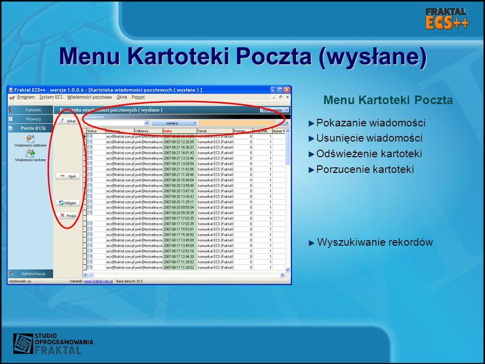Menu Kartoteki Poczta (wysłane)