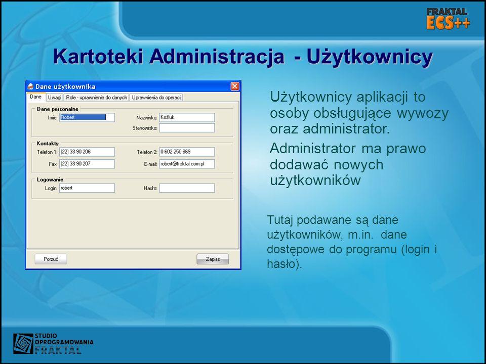 Kartoteki Administracja - Użytkownicy