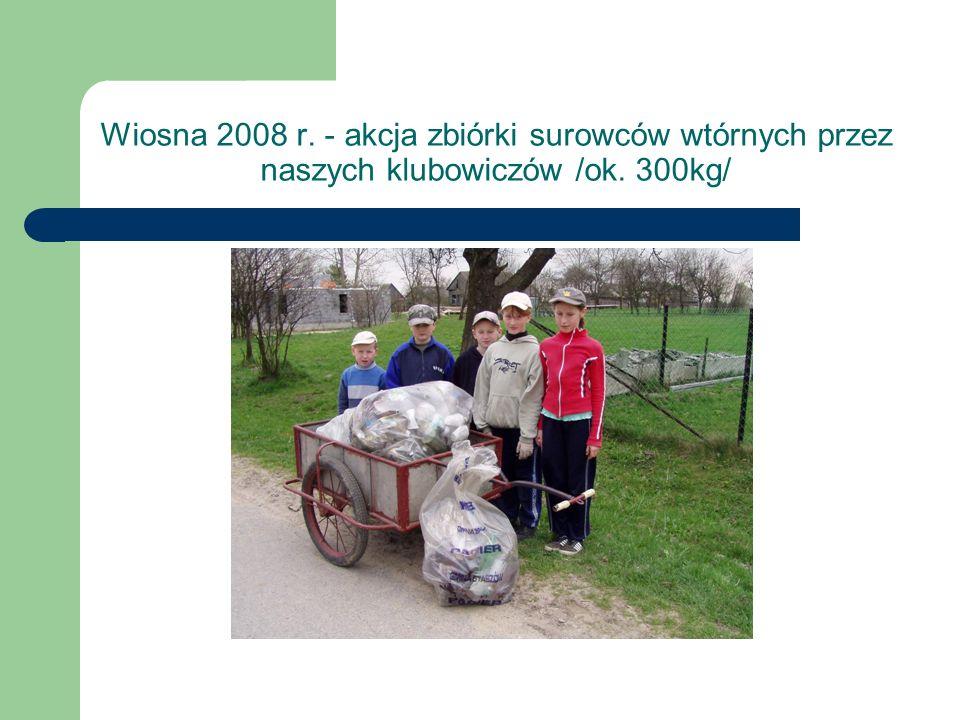 Wiosna 2008 r. - akcja zbiórki surowców wtórnych przez naszych klubowiczów /ok. 300kg/
