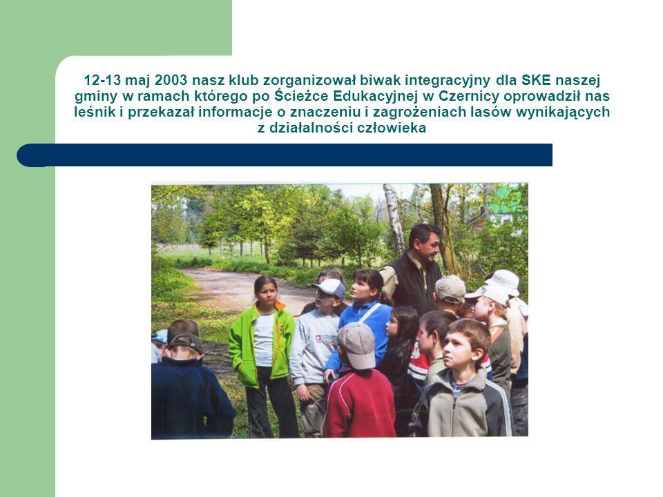 12-13 maj 2003 nasz klub zorganizował biwak integracyjny dla SKE naszej gminy w ramach którego po Ścieżce Edukacyjnej w Czernicy oprowadził nas leśnik i przekazał informacje o znaczeniu i zagrożeniach lasów wynikających z działalności człowieka
