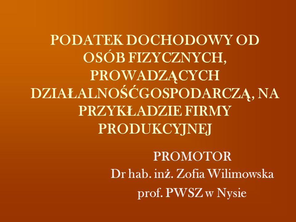 PROMOTOR Dr hab. inż. Zofia Wilimowska prof. PWSZ w Nysie