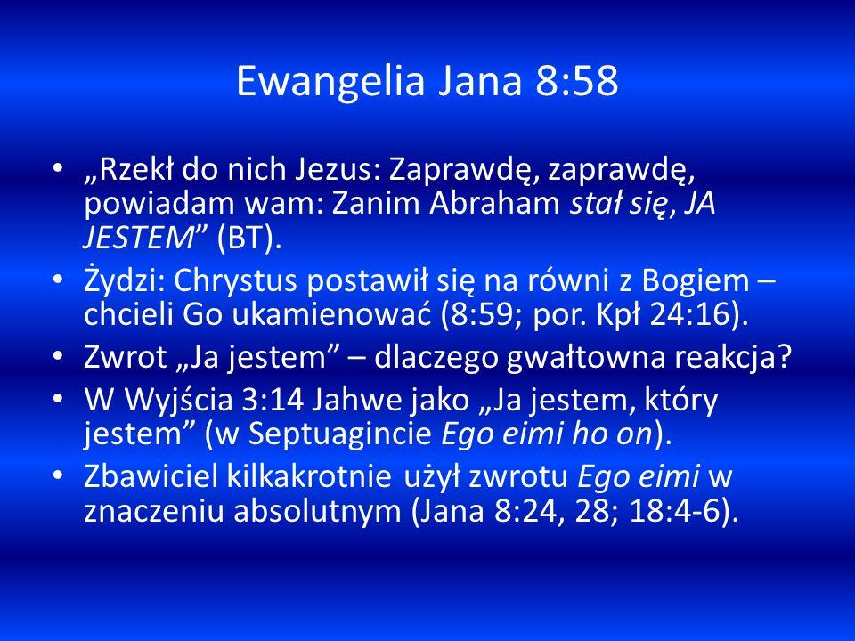 """Ewangelia Jana 8:58 """"Rzekł do nich Jezus: Zaprawdę, zaprawdę, powiadam wam: Zanim Abraham stał się, JA JESTEM (BT)."""