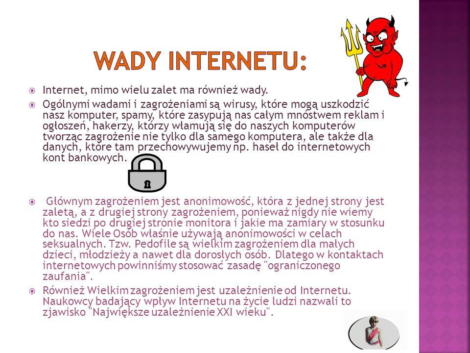 Wady Internetu: Internet, mimo wielu zalet ma również wady.