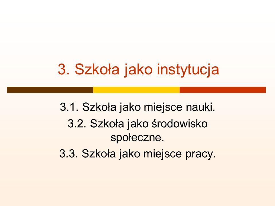 3. Szkoła jako instytucja