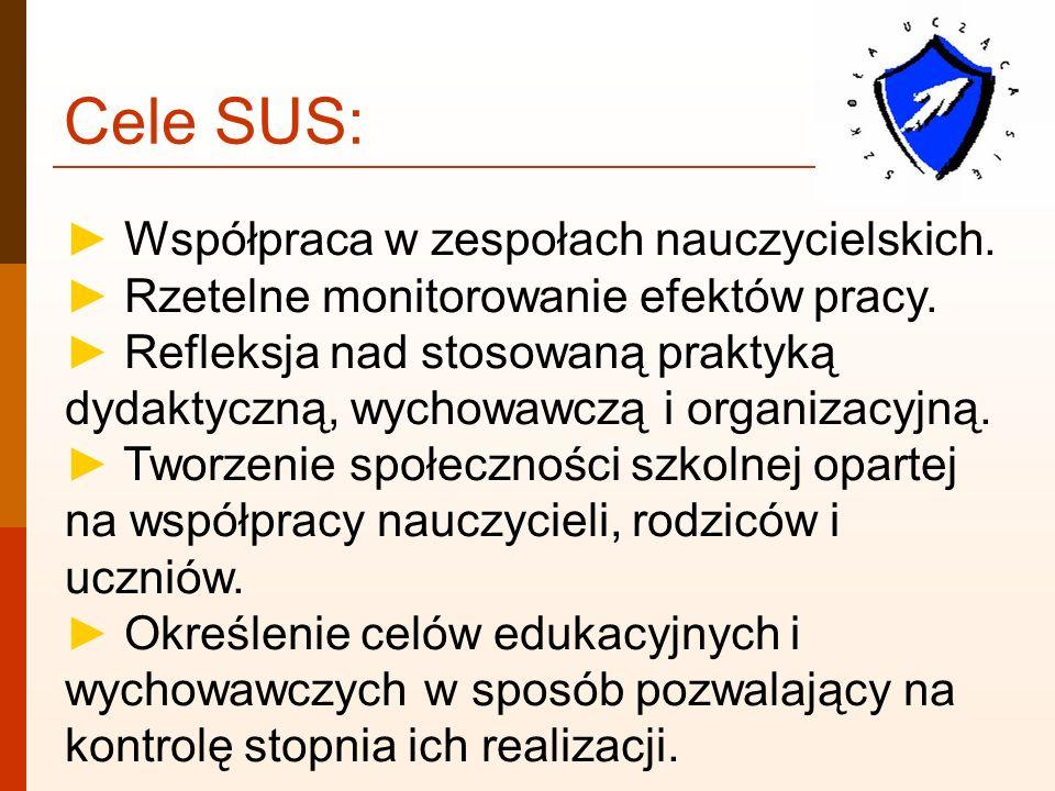 Cele SUS: ► Współpraca w zespołach nauczycielskich.