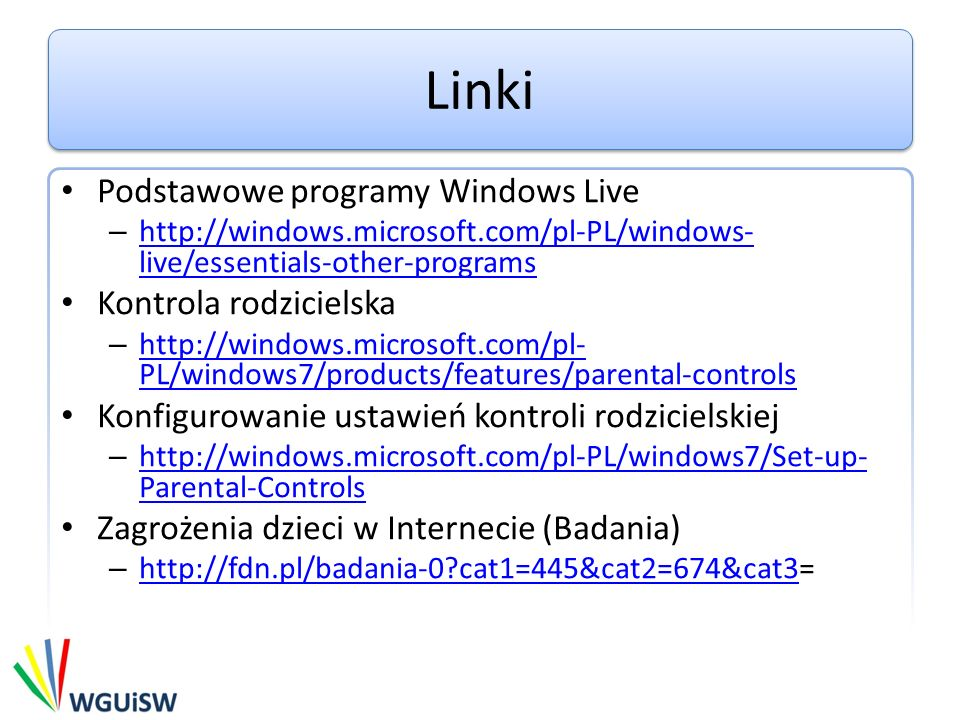 Linki Podstawowe programy Windows Live Kontrola rodzicielska