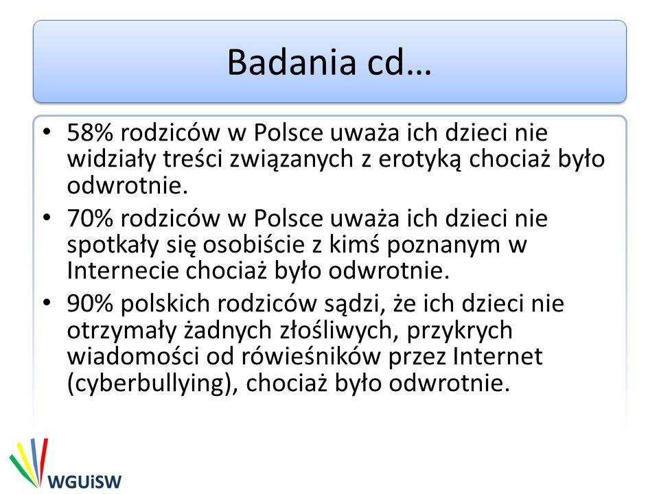 Badania cd… 58% rodziców w Polsce uważa ich dzieci nie widziały treści związanych z erotyką chociaż było odwrotnie.