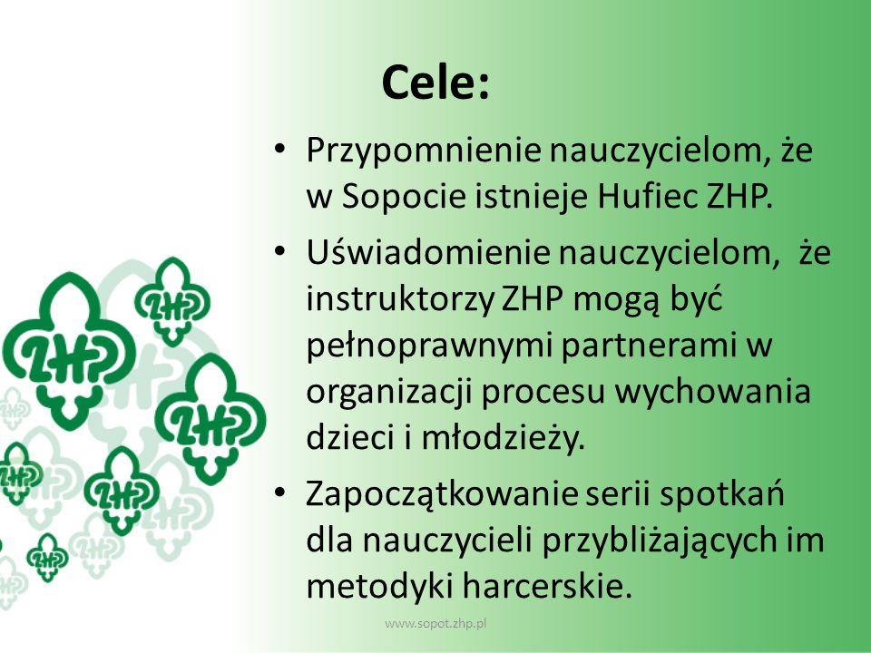 Cele: Przypomnienie nauczycielom, że w Sopocie istnieje Hufiec ZHP.