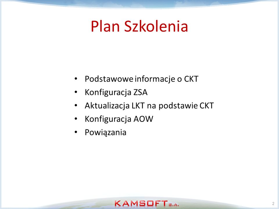 Plan Szkolenia Podstawowe informacje o CKT Konfiguracja ZSA