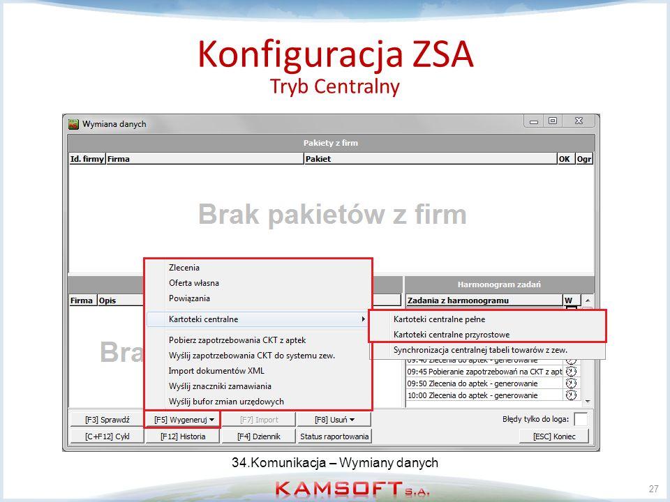 Konfiguracja ZSA Tryb Centralny 34.Komunikacja – Wymiany danych
