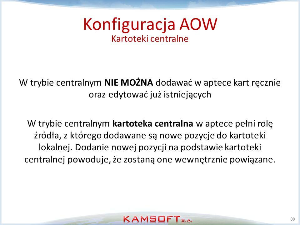 Konfiguracja AOW Kartoteki centralne
