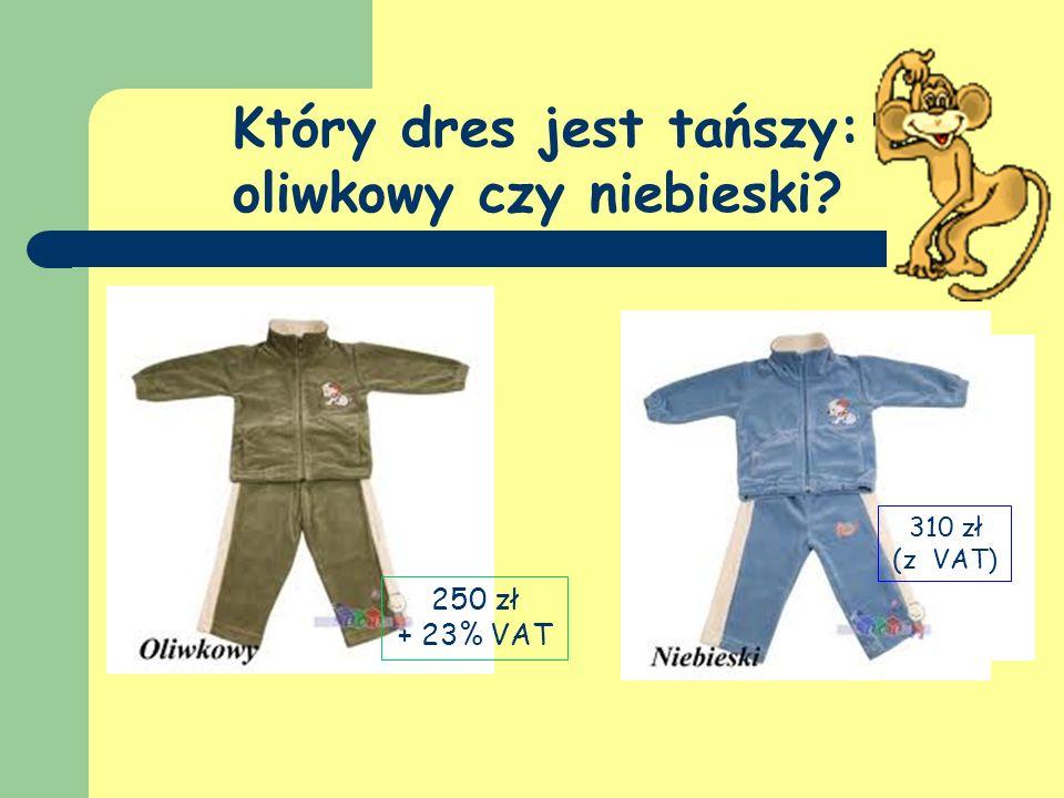 Który dres jest tańszy: oliwkowy czy niebieski