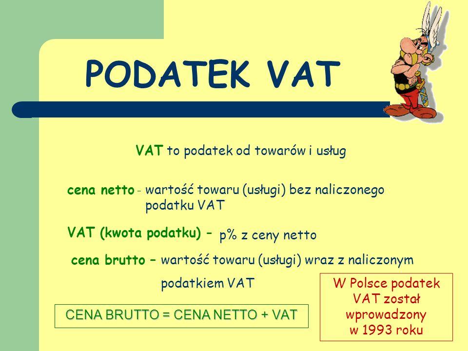 PODATEK VAT VAT to podatek od towarów i usług cena netto -