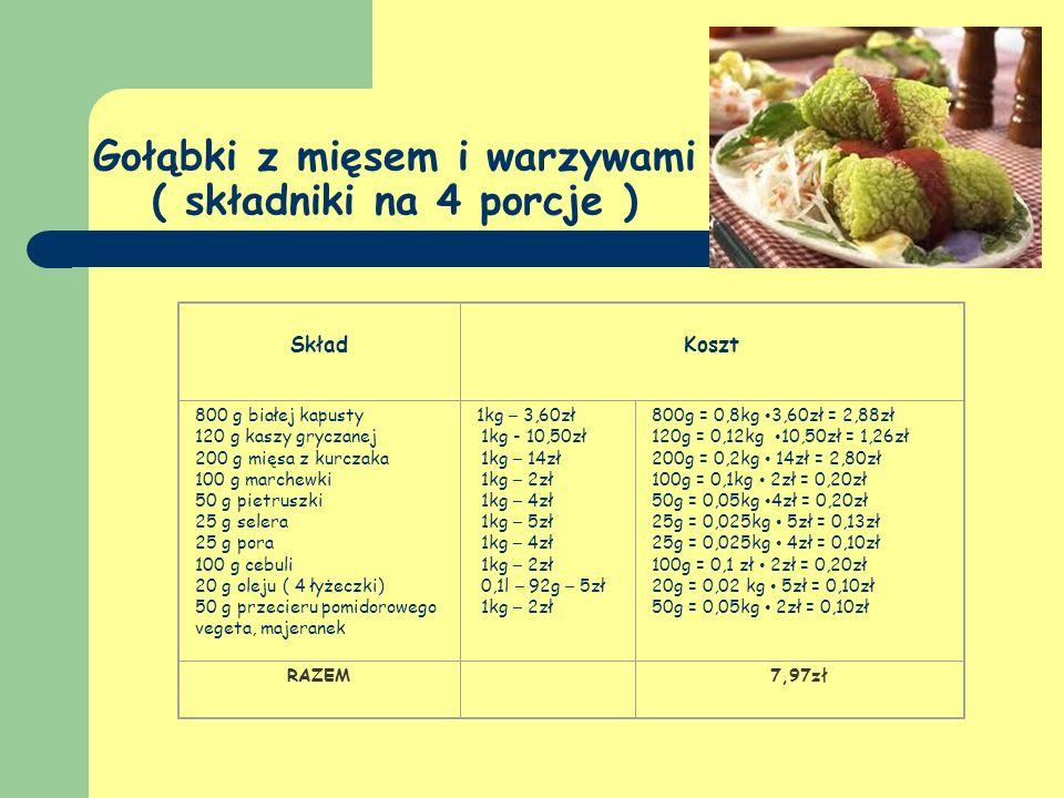 Gołąbki z mięsem i warzywami ( składniki na 4 porcje )