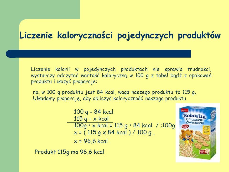Liczenie kaloryczności pojedynczych produktów